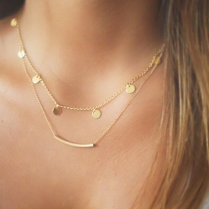 DANGLING GOLD NECKLACE - Thumbnail
