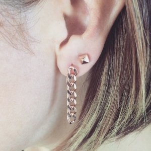 RETRO CHAIN ROSE EARRINGS - Thumbnail