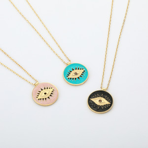 ENAMEL EYE COIN NECKLACE - Thumbnail (2)