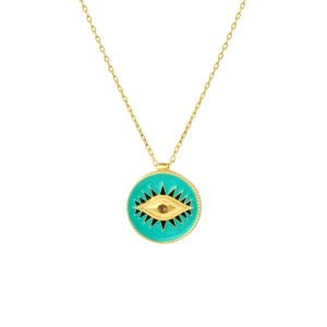 - ENAMEL EYE COIN NECKLACE