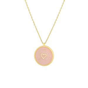 - ENAMEL LOVE HEART COIN NECKLACE