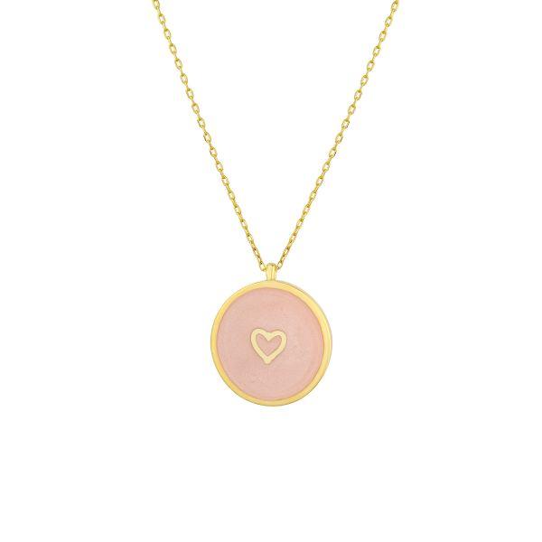 - ENAMEL LOVE HEART COIN NECKLACE