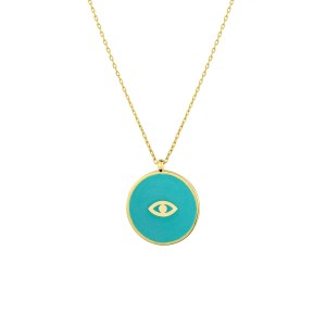- ENAMEL MINI EVIL EYE COIN NECKLACE