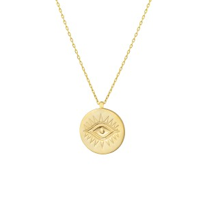 - ENAMEL MINI EVIL EYE COIN NECKLACE (1)