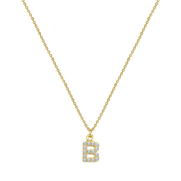 - PAVE B INITIAL NECKLACE