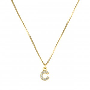 - PAVE C INITIAL NECKLACE