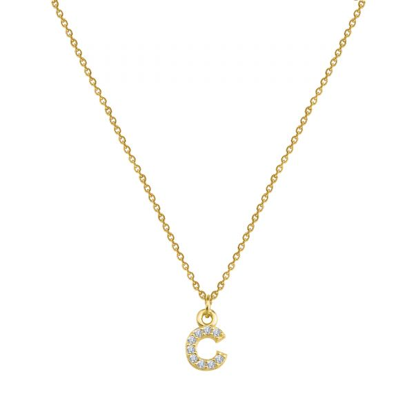 PAVE C INITIAL NECKLACE