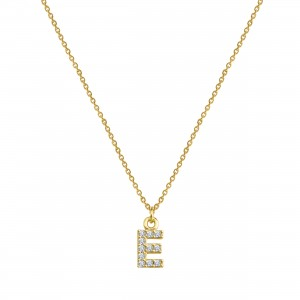 - PAVE E INITIAL NECKLACE