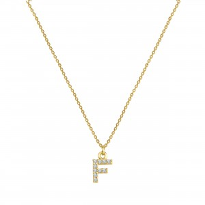 - PAVE F INITIAL NECKLACE