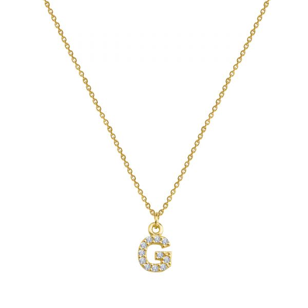 PAVE G INITIAL NECKLACE