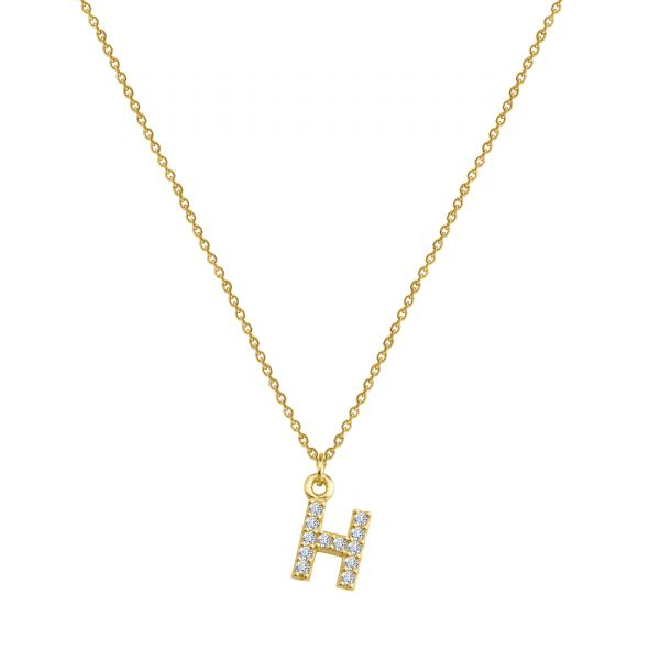 PAVE H INITIAL NECKLACE