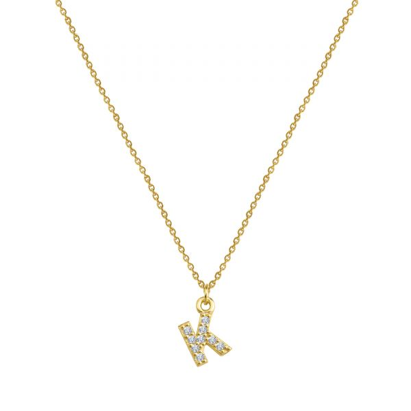 - PAVE K INITIAL NECKLACE