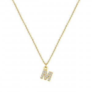 - PAVE M INITIAL NECKLACE