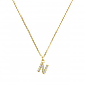 - PAVE N INITIAL NECKLACE