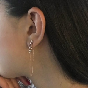 RETRO THIN CHAIN EARRINGS - Thumbnail
