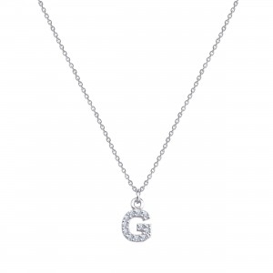 - PAVE G INITIAL NECKLACE